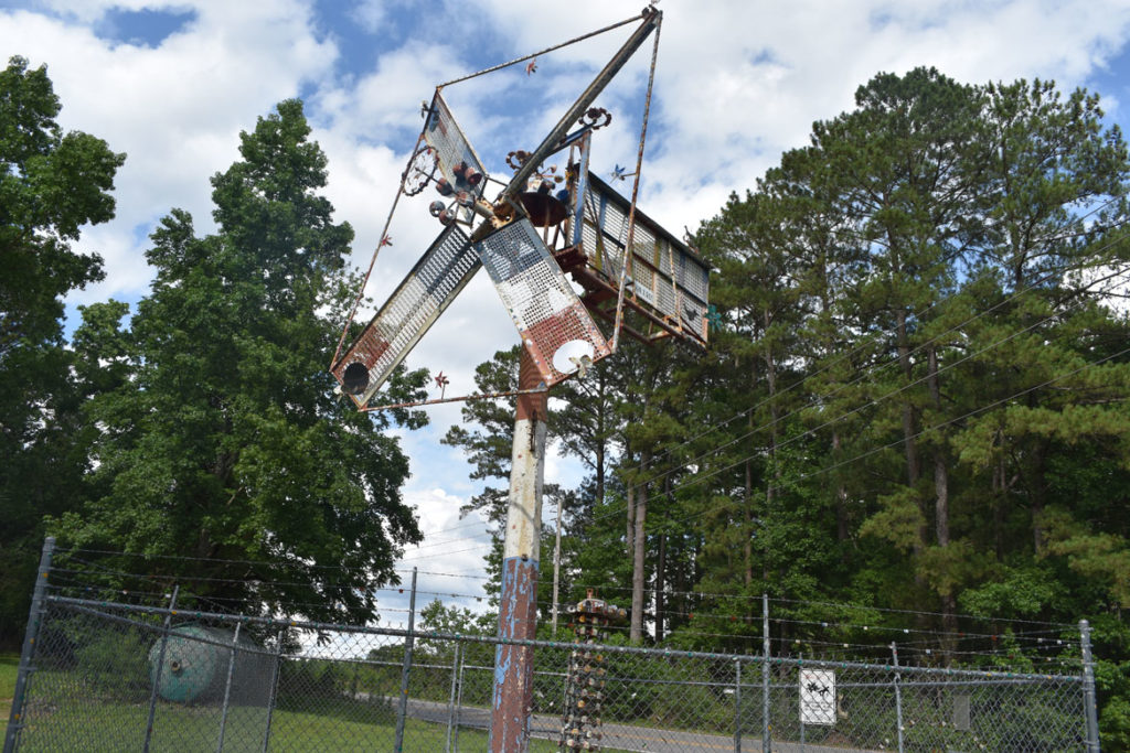 One of Vollis Simpson's last monumental whirligigs at the original location near his shop in Lucama, North Carolina, June 19, 2019. (Greg Cook)
