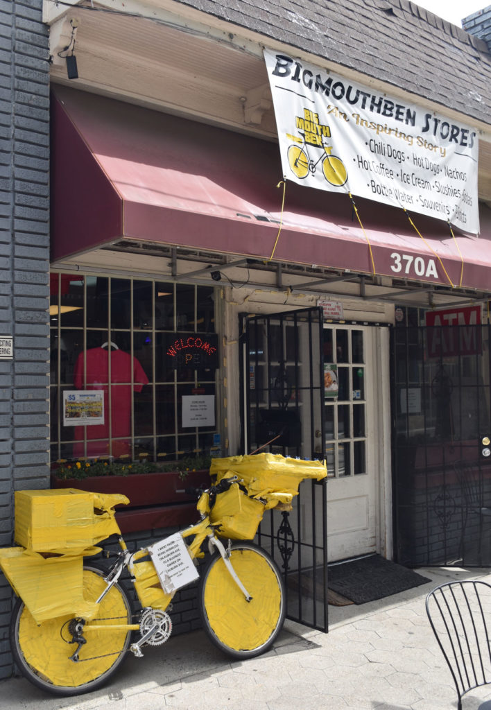 Big Mouth Ben Store and yellow bike in Atlanta, Georgia, June 24, 2019. (Greg Cook)