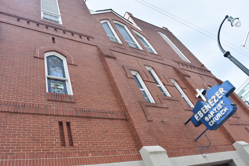 Martin Luther King Jr.'s Ebenezer Baptist Church in Atlanta, Georgia, June 24, 2019. (Greg Cook)