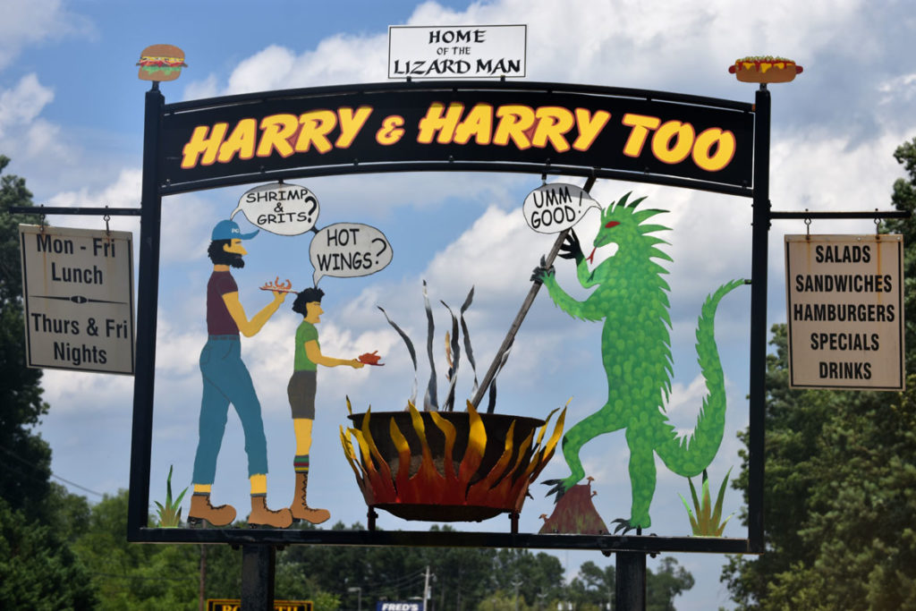 "Harry & Harry Too (""Home of the Lizard Man"") at Bishopville, South Carolina, June 20, 2019. (Greg Cook)"