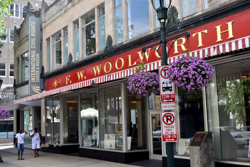 The F.W. Woolworth store in Greensboro, North Carolina, the site of a 1960 sit-in to desegregate the lunch counter, is now the International Civil Rights Center & Museum. June 28, 2019. (Greg Cook)