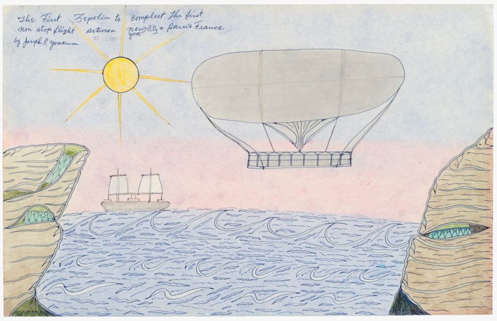 Joseph Elmer Yoakum, The First Zepolin to compleet the first non stop flight Between New York City + Parris France, 1969, Color pencil, ballpoint pen on paper, 12 x 19 in, 30.5 x 48.3 cm. Courtesy Venus Over Manhattan, New York, and The Museum of Everything. Photo: Claire Iltis.
