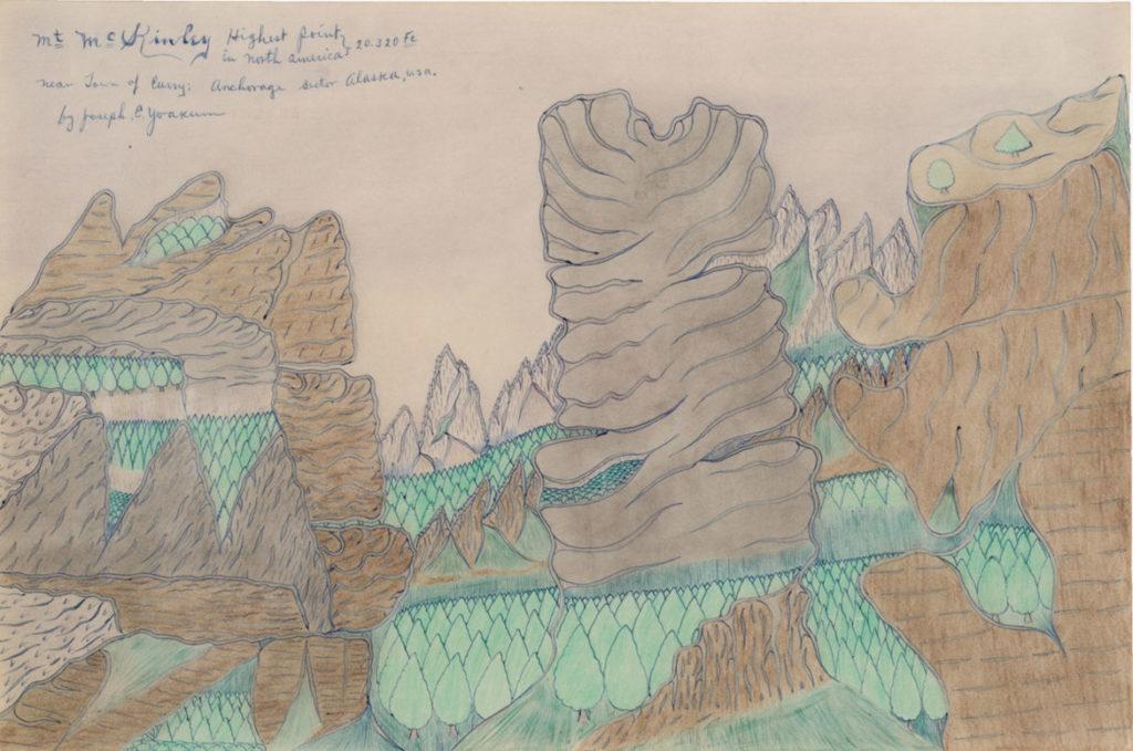 Joseph Elmer Yoakum, Mt Mckinley Highest Point in North America 20320 FE Near Town of Curry! Anchorage Seetor Alaska, USA, n.d., Color pencil, ballpoint pen on paper, 12 x 17 5/8 in, 30.5 x 44.8 cm. Courtesy Venus Over Manhattan, New York. Photo: Claire Iltis.