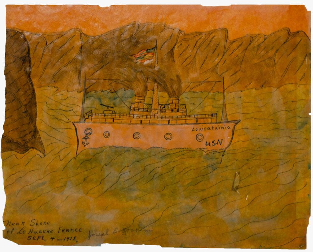 Joseph Elmer Yoakum, Near Shore of Le Huavre, France, n.d., Watercolor, ink, pencil on paper, 8 1/4 x 10 3/4 in, 21 x 27.3 cm. Courtesy Venus Over Manhattan, New York. Photo: Claire Iltis.