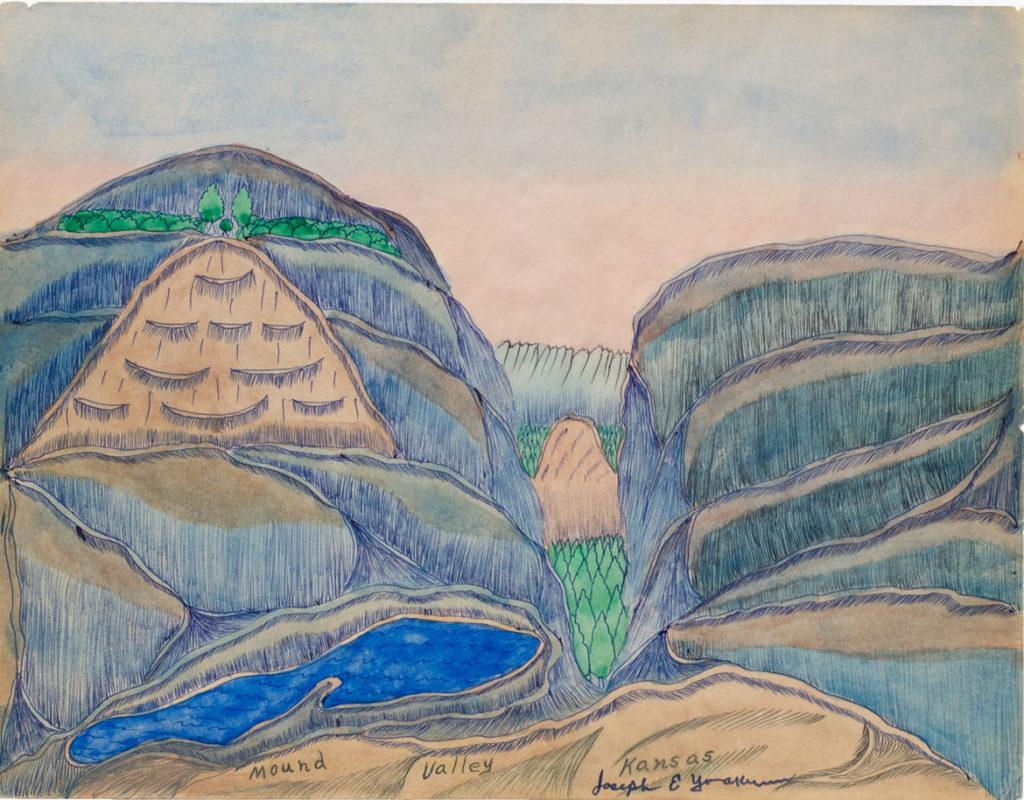 Joseph Elmer Yoakum, Mound Valley, Kansas, n.d., Watercolor, ink, pencil on paper, 8 1/4 x 11 in, 21 x 28 cm. Courtesy Venus Over Manhattan, New York. Photo: Claire Iltis.