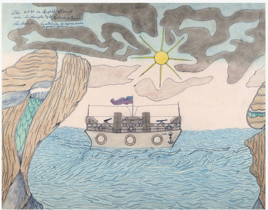 Joseph Elmer Yoakum, The Outlet in English Channel near Southampton Eng to Lehauerve France; This ship is the Lusatainia Conveyince Service, c. 1963/1967, Blue and black ballpoint pens, color pencils and chalk with smudging, on tan wove paper, 19 x 24 in, 48.3 x 61 cm. Courtesy Venus Over Manhattan, New York. Photo: Claire Iltis.