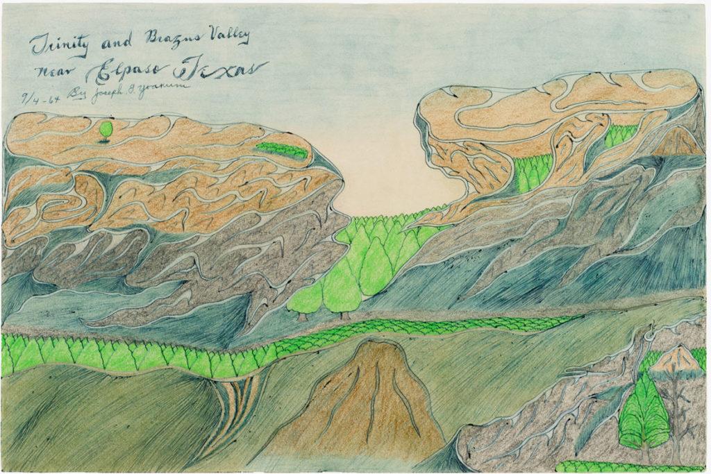 Joseph Elmer Yoakum, Trinity and Brazus Valley near Elpaso Texas, 1964, Blue ballpoint pens and graphite, with watercolor on tan wove paper, 12 x 17 1/2 in, 30.5 x 44.5 cm. Courtesy Venus Over Manhattan, New York. Photo: Claire Iltis.