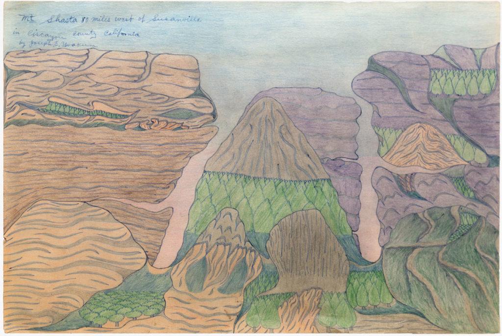 Joseph Elmer Yoakum, Mt. Shasta 80 Miles West of Susanville In Circayou County California, c. 1970s, Pen, color pencil on paper, 12 x 19 in, 30.5 x 48.3 cm. Courtesy Venus Over Manhattan, New York.