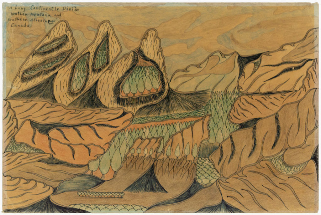 Joseph Elmer Yoakum, A Long Continentle Divide, n.d., Color pencil on paper, 11 7/8 x 17 7/8 in, 30.2 x 45.4 cm. Collection of Intuit: The Center for Intuitive and Outsider Art, gift of Martha Griffin, 2014.5.3. Courtesy Venus Over Manhattan, New York.