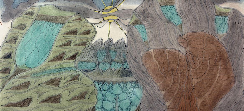 Detail of Joseph Elmer Yoakum, Mt. Raft River near Great Salt Lake near Village Grouse Creek, Utah, 1969, Color pencil, ballpoint pen, graphite on paper, 12 x 18 3/4 in, 30.5 x 47.6 cm. Courtesy Venus Over Manhattan, New York. Photo: William H. Bengston, Chicago.