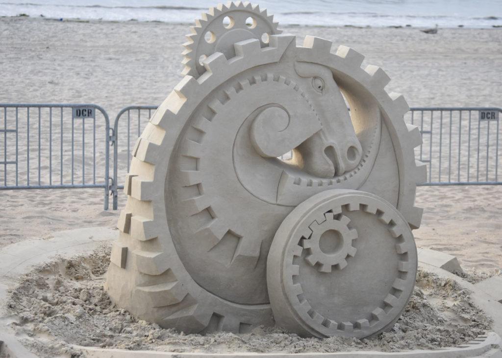 Sculpture by Maxim Gazenda of the Netherlands at the Revere Beach International Sand Sculpting Festival, Massachusetts, July 27, 2019. (Greg Cook)