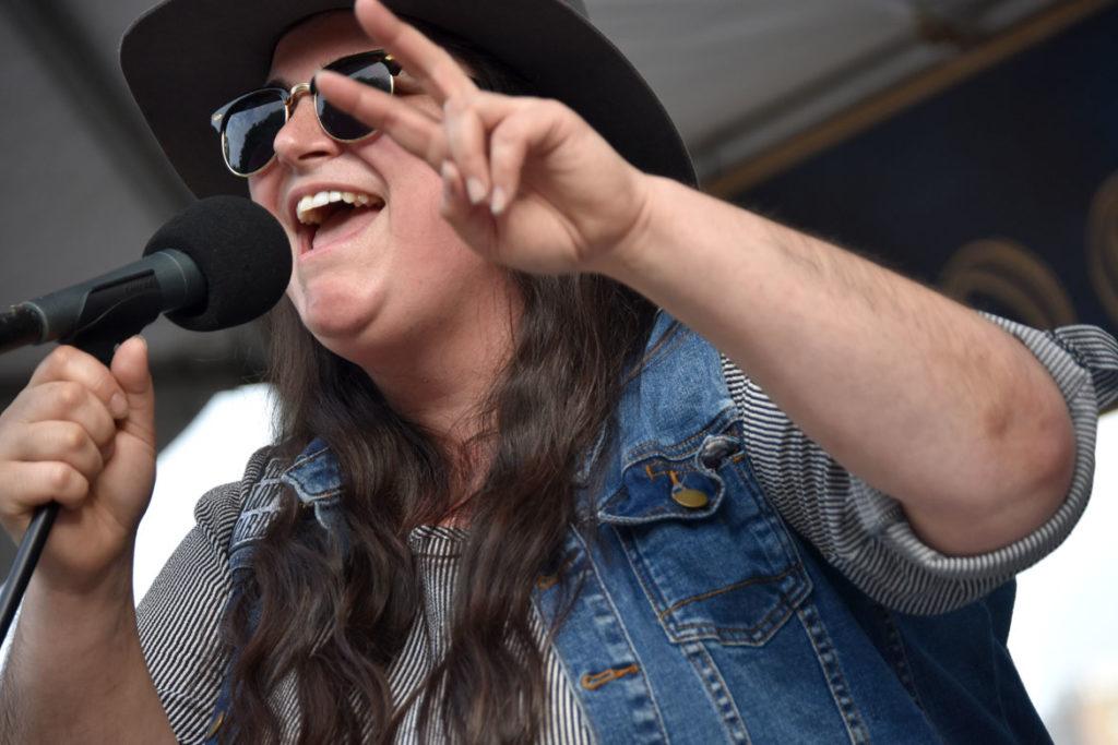 Julie Roads performs at the Cambridge Arts River Festival, June 6, 2018. (Greg Cook)