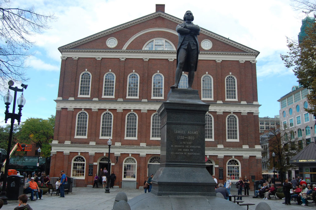 Samuel Adams monument in front of Faneuil Hall Marketplace, Oct. 13, 2015. (Greg Cook)