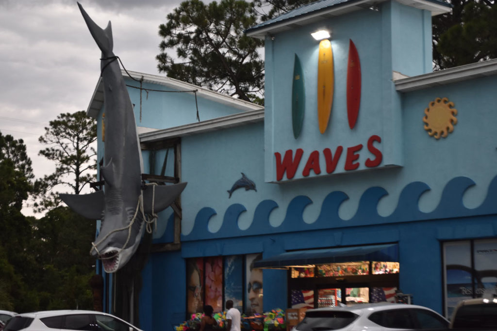 Shark sculpture on Waves shop at Tybee Island, Savannah, Georgia, June 22, 2019. (Greg Cook)