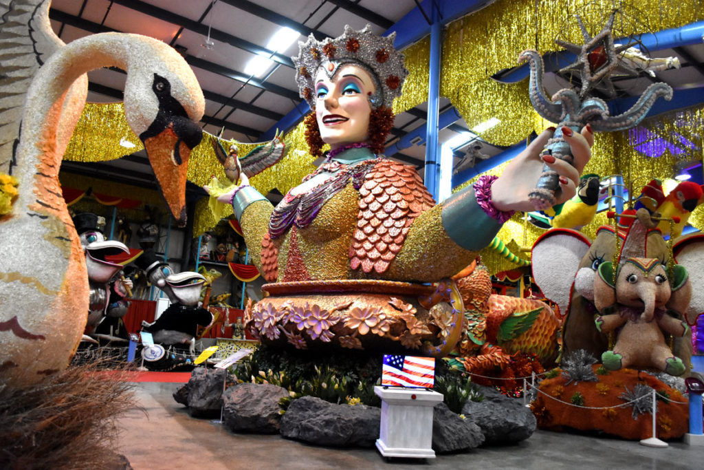Parade floats displayed at American Celebration on Parade at Shenandoah Caverns, Quicksburg, Virginia, June 30, 2019. (Greg Cook)