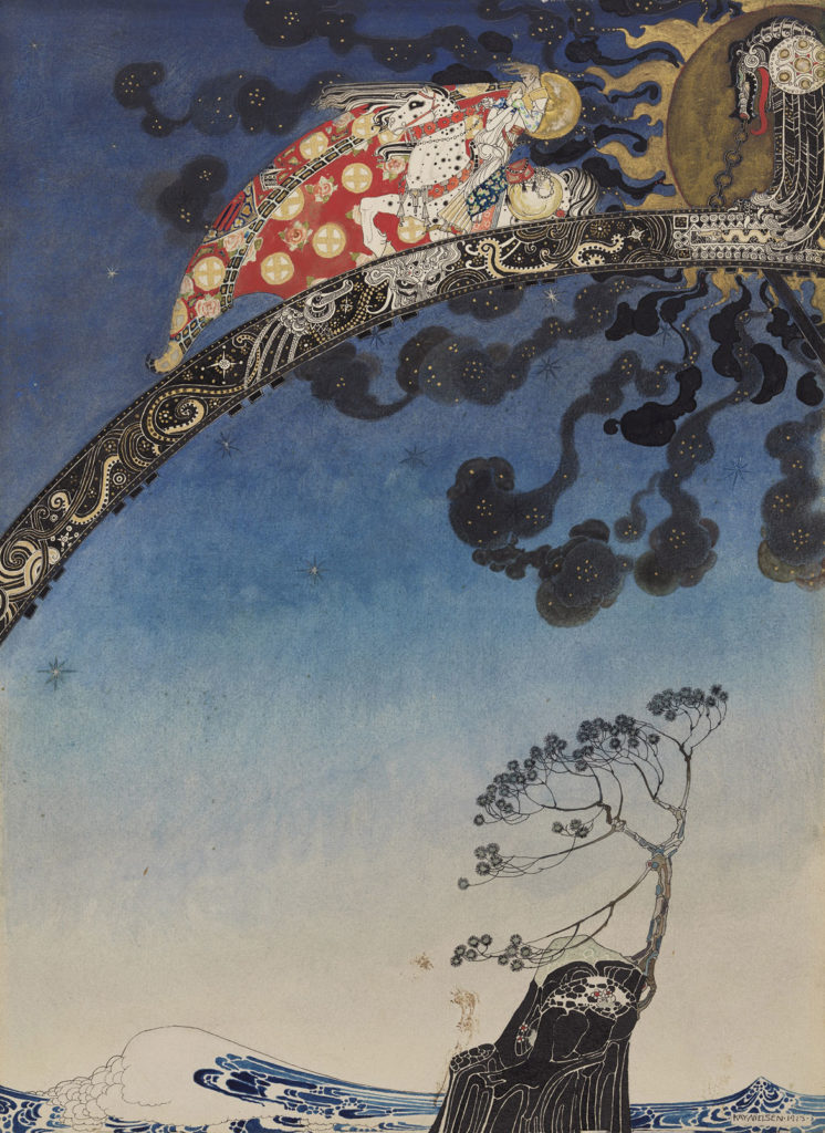 """Kay Nielsen, Illustration from """"East of the Sun, West of the Moon, Old Tales from the North,"""" published 1914, transparent and opaque watercolor, pen and brush and ink, gesso and metallic paint, over graphite. (Courtesy Museum of Fine Arts, Boston)"""