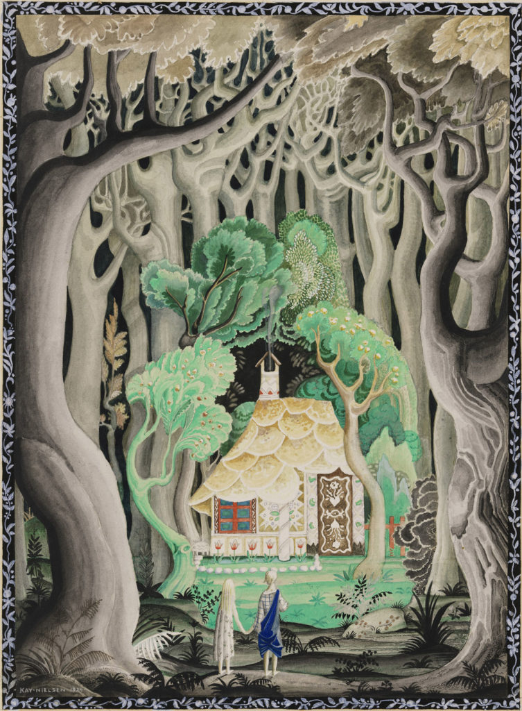 """Kay Nielsen, Illustration from """"Hansel and Gretel and Other Stories"""" by the Brothers Grimm, published 1925, transparent and opaque watercolor, pen and ink, over graphite. (Courtesy Museum of Fine Arts, Boston)"""