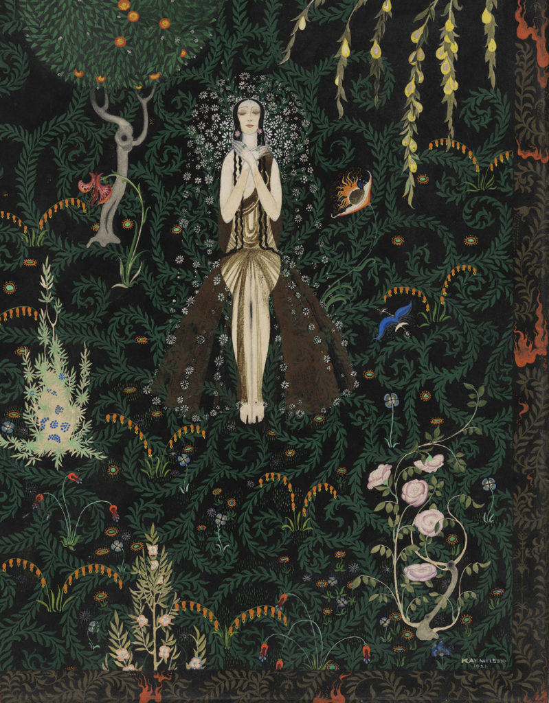 """Kay Nielsen, """"Flowers and Flames,"""" 1921, opaque watercolor and metallic paint, over graphite. (Courtesy Museum of Fine Arts, Boston)"""