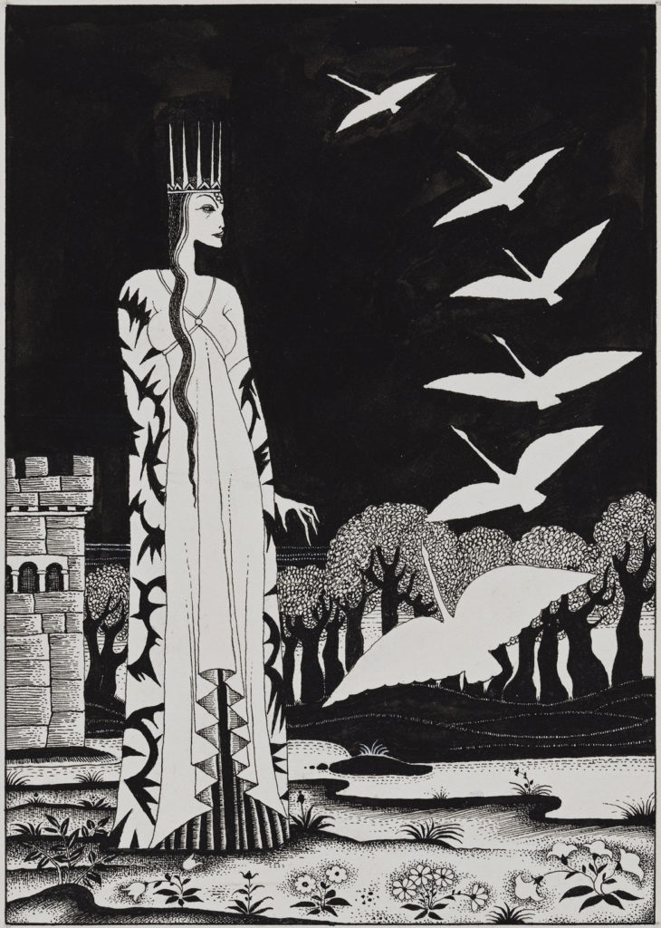 """Kay Nielsen, illustration for """"Red Magic,"""" published in 1930, pen and brush and ink, over graphite. (Courtesy Museum of Fine Arts, Boston)"""
