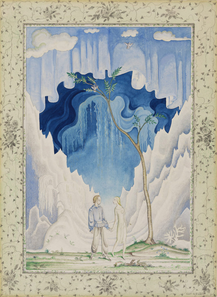 """Kay Nielsen, Illustration from """"Fairy Tales by Hans Andersen,"""" published 1924, transparent watercolor, over graphite. (Courtesy Museum of Fine Arts, Boston)"""