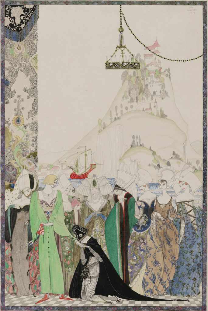 """Kay Nielsen, Illustration from the """"Joan of Arc"""" series, 1914, transparent and opaque watercolor, pen and brush and ink, metallic paint, over graphite. (Courtesy Museum of Fine Arts, Boston)"""