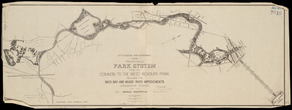 """Boston (Mass. Park Commissioners), """"Proposed park system from the Common to the West Roxbury Park including the Back Bay and Muddy river improvements, Jamaica Pond and the Arnold Arboretum,"""" 1882.(Courtesy Isabella Stewart Gardner Museum)"""