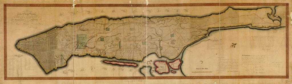 "William Bridges (city surveyor) and Peter Maverick (engraver), ""Map of the City of New York and island of Manhattan,"" 1811. (Courtesy Isabella Stewart Gardner Museum)"