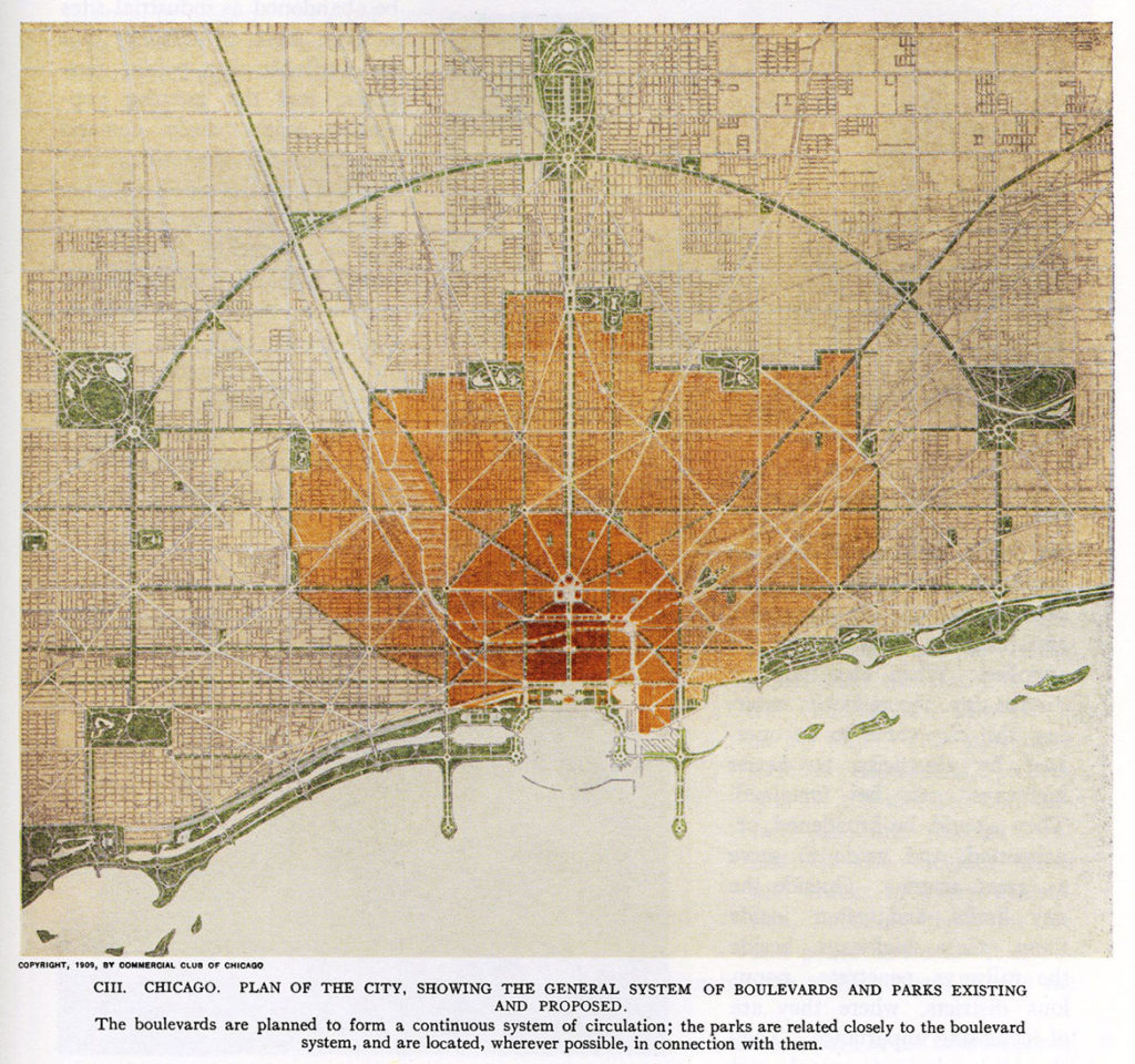 """Daniel Burnham, et al. """"Plate CCCI Plan of Existing and Proposed Parks and Boulevards."""" (Courtesy Isabella Stewart Gardner Museum)"""