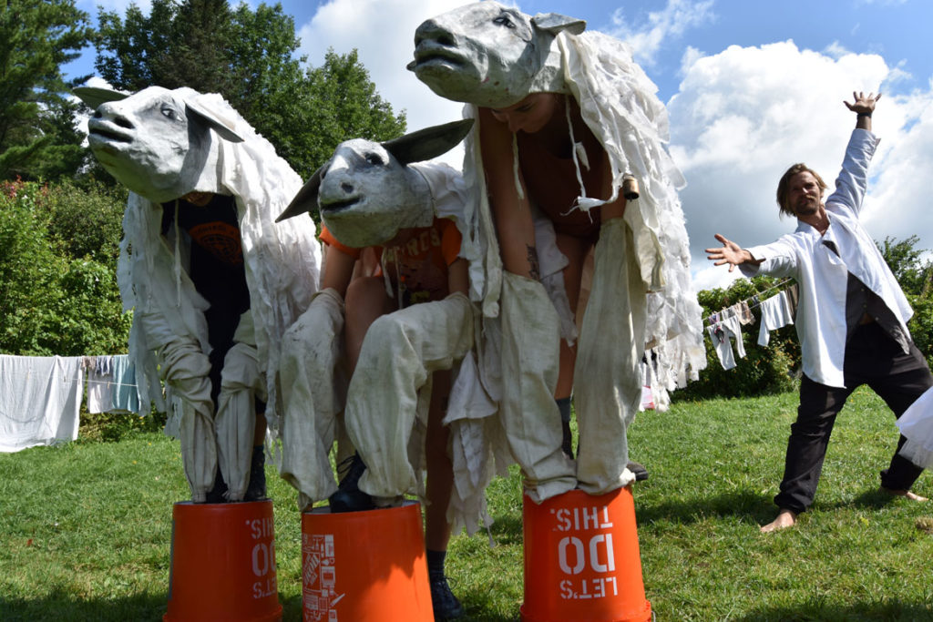 "Rehearsal for health care act (later cut from the show) for Bread and Puppet Theater's ""Diagonal Life Circus,"" Glover, Vermont, Aug. 23, 2019. (Greg Cook)"