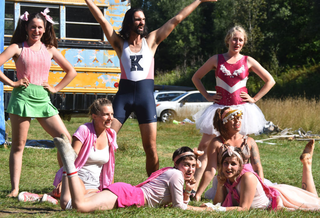 "Cheerleaders for ""white fragility"" in Bread and Puppet Theater's ""Diagonal Life Circus,"" Glover, Vermont, Aug. 25, 2019. (Greg Cook)"
