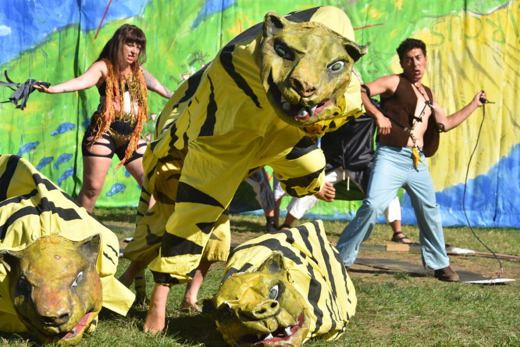 "Tiger act in Bread and Puppet Theater's ""Diagonal Life Circus,"" Glover, Vermont, Aug. 25, 2019. (Greg Cook)"