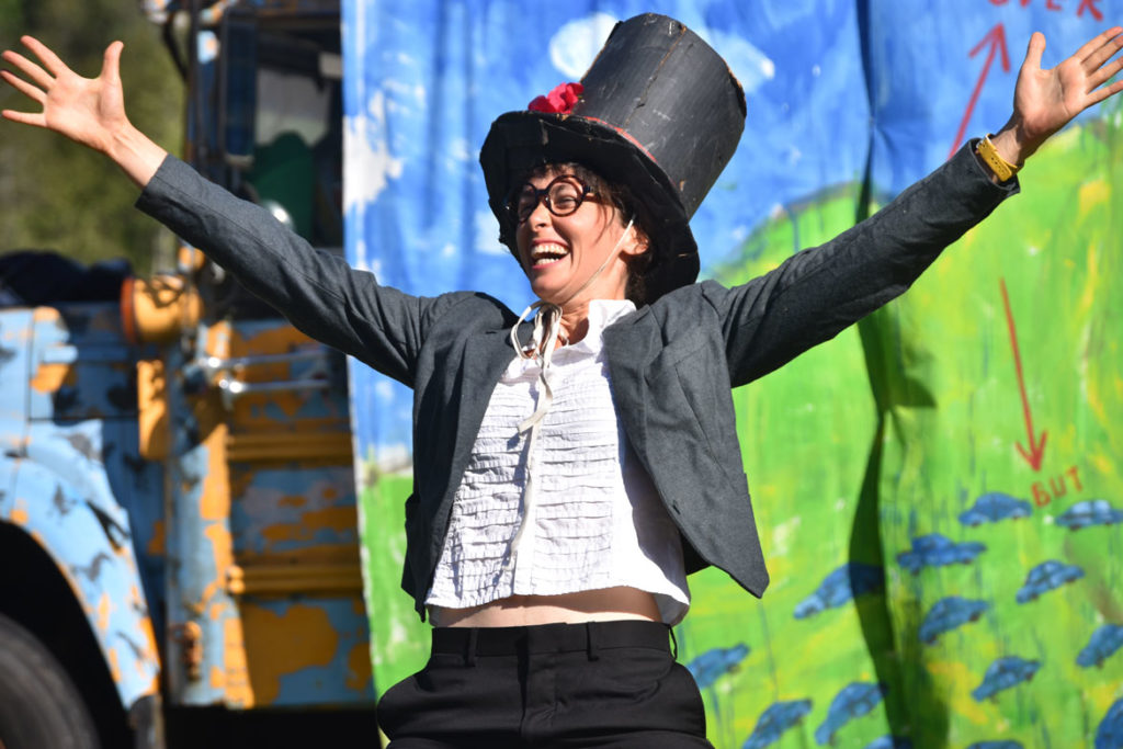 "A ringmaster in Bread and Puppet Theater's ""Diagonal Life Circus,"" Glover, Vermont, Aug. 25, 2019. (Greg Cook)"