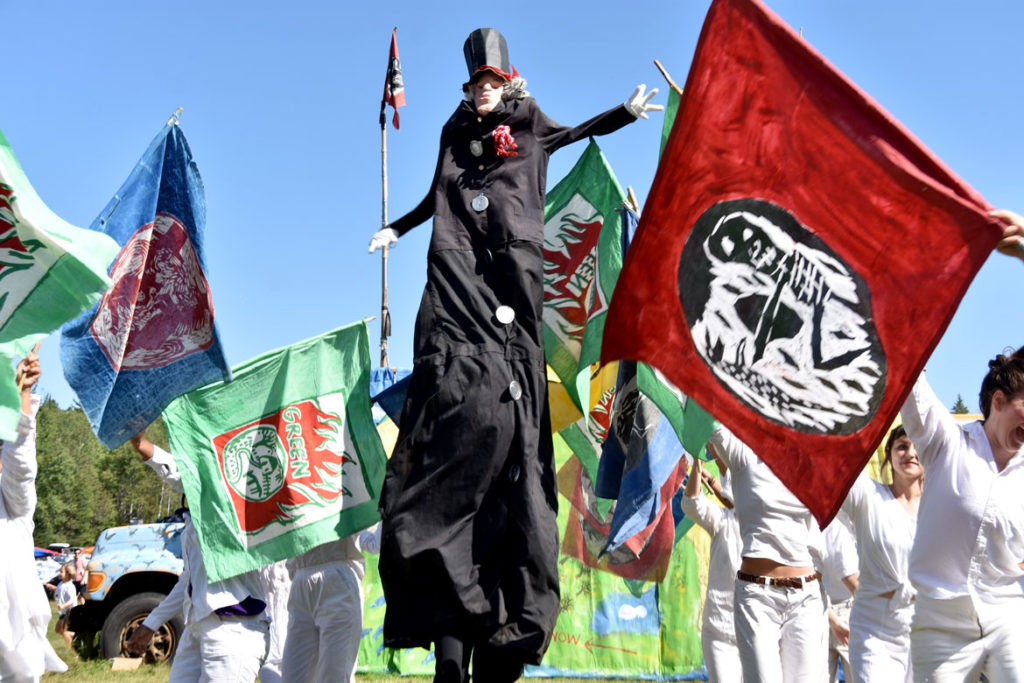 "The opening of Bread and Puppet Theater's ""Diagonal Life Circus,"" Glover, Vermont, Aug. 25, 2019. (Greg Cook)"