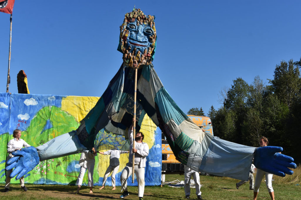 "The ""Goddess of the Above"" in Bread and Puppet Theater's ""Diagonal Life Circus,"" Glover, Vermont, Aug. 25, 2019. (Greg Cook)"