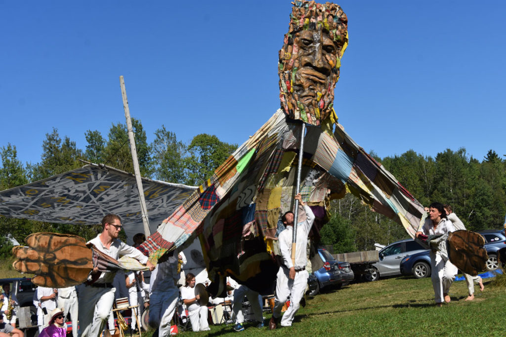 "The ""God of Below"" in Bread and Puppet Theater's ""Diagonal Life Circus,"" Glover, Vermont, Aug. 25, 2019. (Greg Cook)"