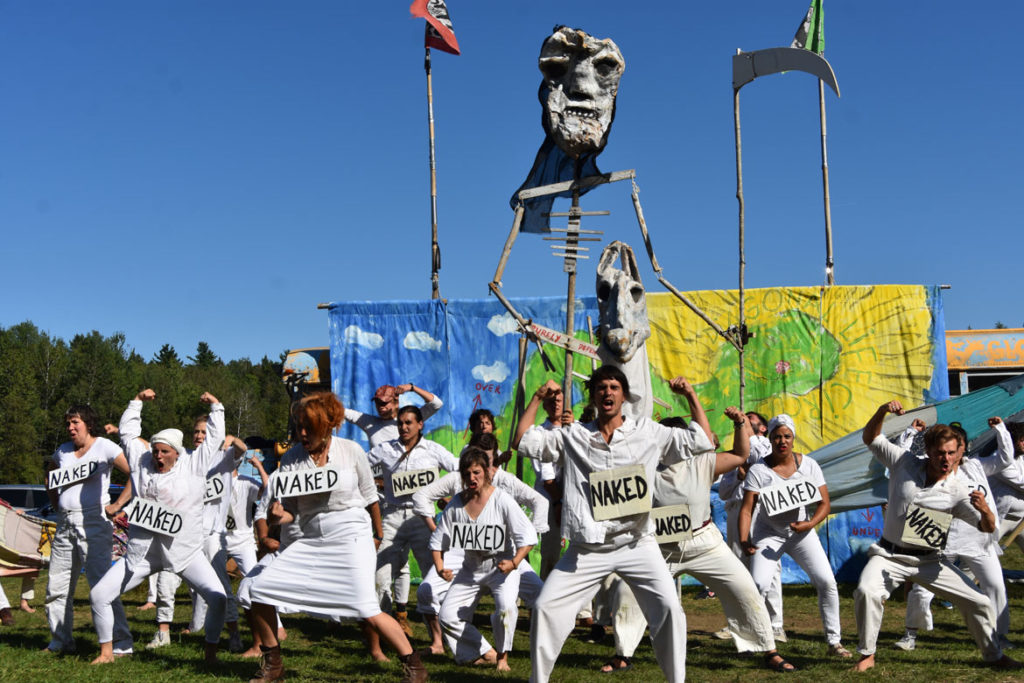 "Death or ""The God of Inbetween"" in Bread and Puppet Theater's ""Diagonal Life Circus,"" Glover, Vermont, Aug. 25, 2019. (Greg Cook)"