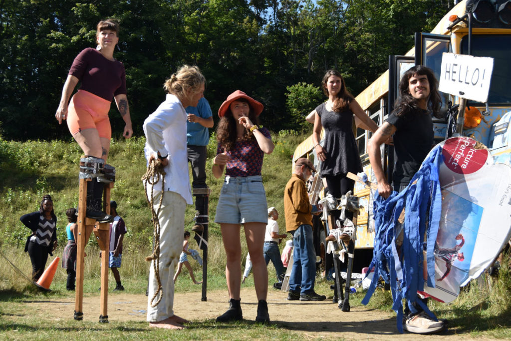 "Rehearsing a stilt act for Bread and Puppet Theater's ""Diagonal Life Circus,"" Glover, Vermont, Aug. 25, 2019. (Greg Cook)"