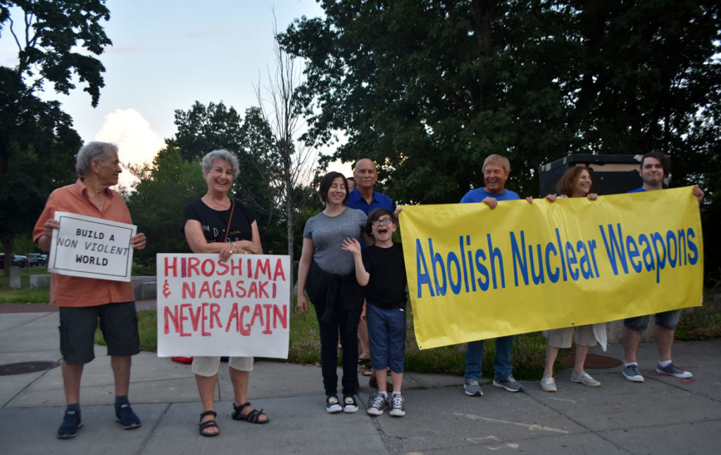 Remembering Hiroshima and Nagasaki Vigil in Watertown Square, Aug. 4, 2019. (Greg Cook)