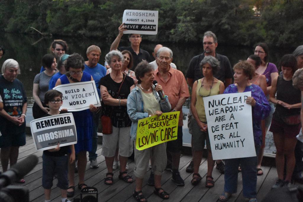 Remembering Hiroshima and Nagasaki Vigil in Watertown Square, Aug. 4, 2019. (Greg Cook)