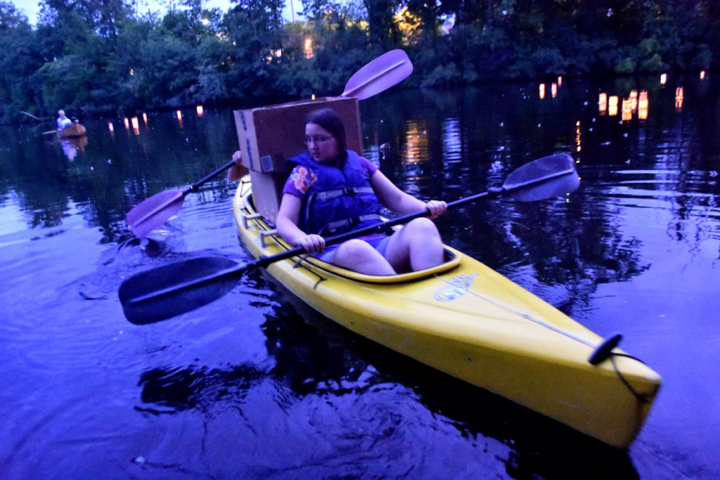 A kayak loaded with lanterns for the Remembering Hiroshima and Nagasaki Vigil in Watertown Square, Aug. 4, 2019. (Greg Cook)