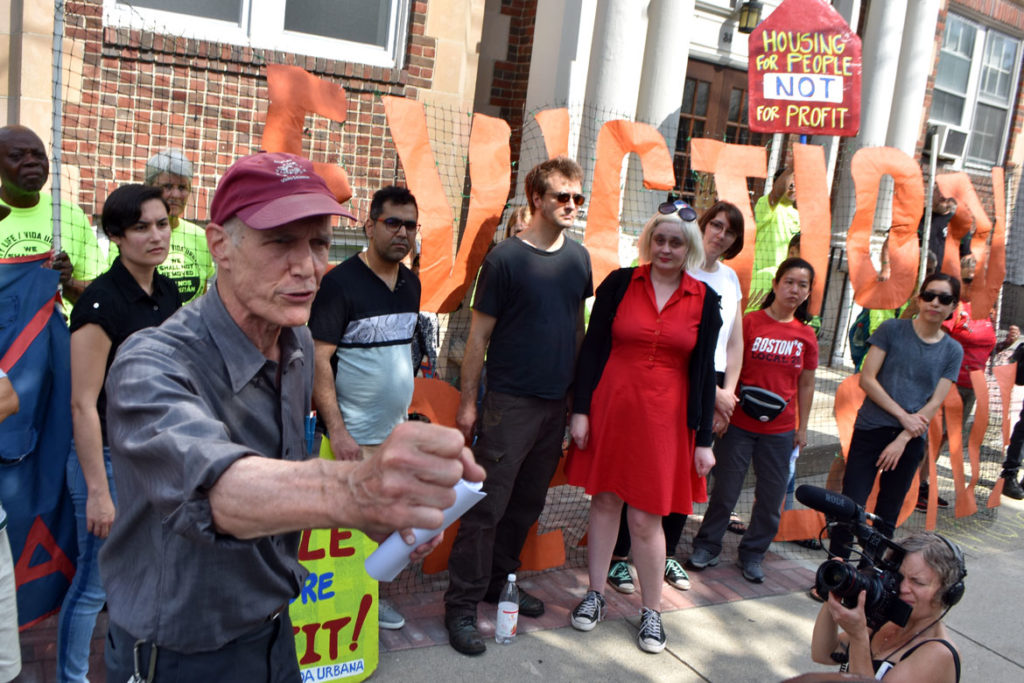City Life/Vida Urbana organizer Steve Meecham (left) at the rally to support renters fighting hikes of nearly 50 percent at 33 Park St., Malden, Aug. 3, 2019. (Greg Cook)