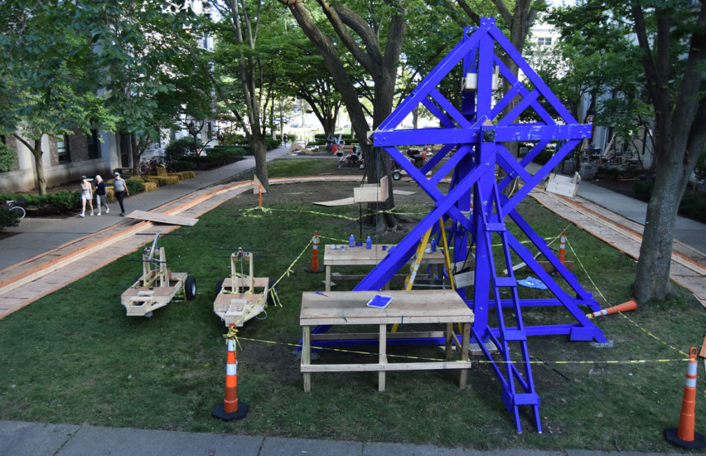 DIY cart track and Ferris wheel at MIT's East Campus, Cambridge, Aug. 29, 2019. (Greg Cook)