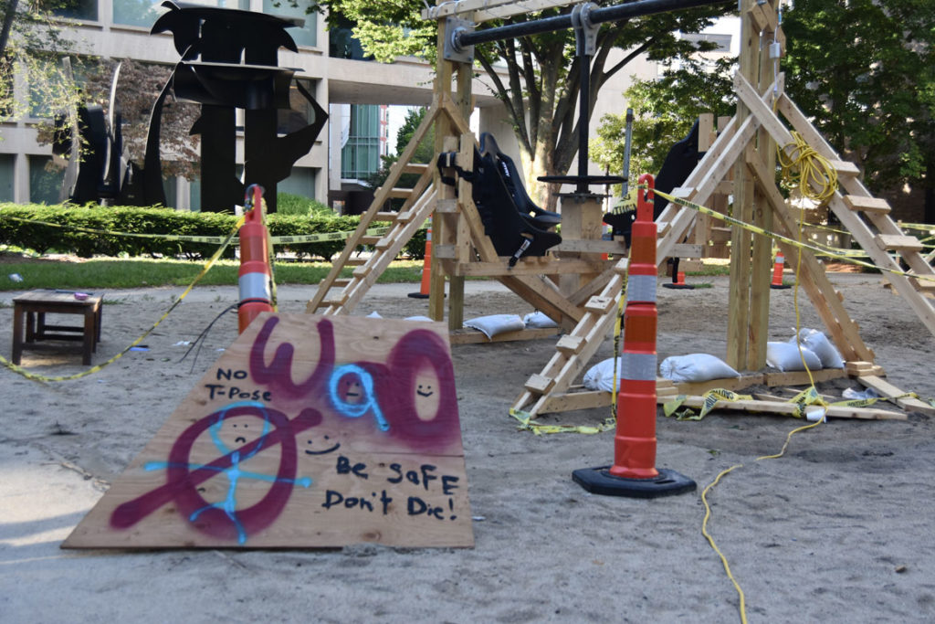 """""""Be Safe Don't Die!"""" at MIT's East Campus, Cambridge, Aug. 29, 2019. (Greg Cook)"""