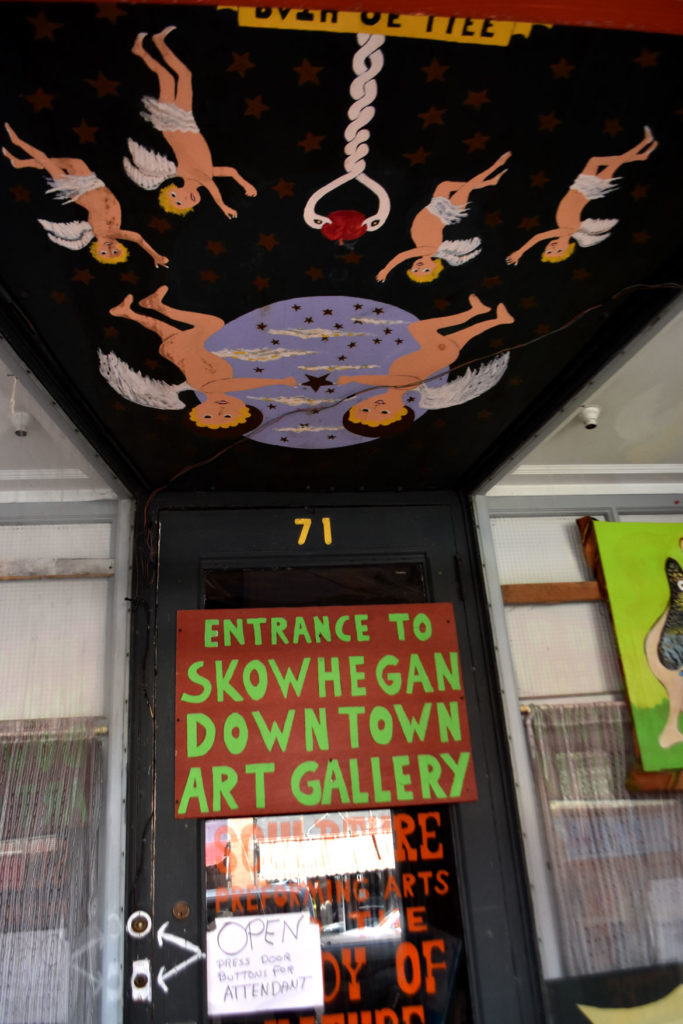 The entrance to Stephen Leakos's Skowhegan Downtown Art Gallery, Skowhegan, Maine, Jul 30, 2019. (Greg Cook)