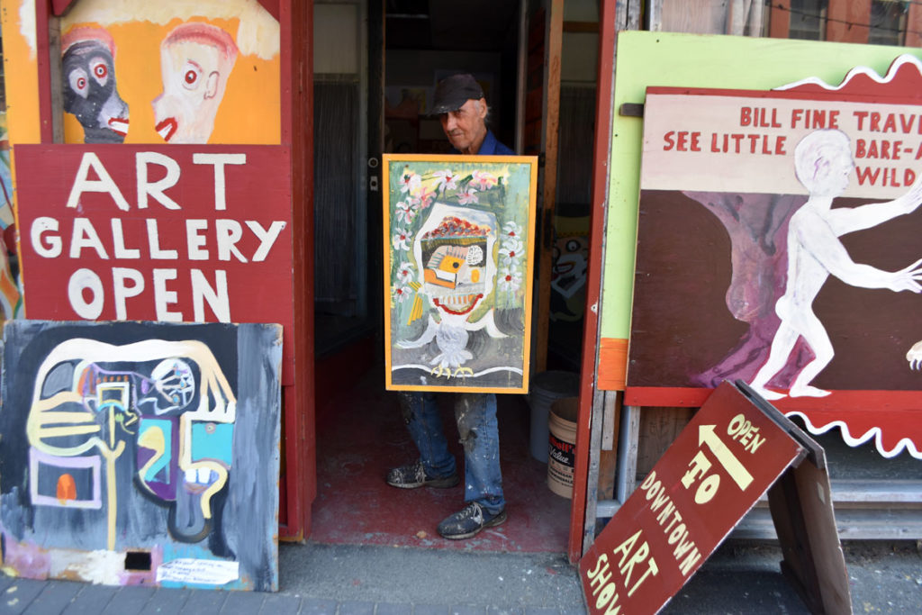 Stephen Leakos outside of his Skowhegan Downtown Art Gallery, Skowhegan, Maine, Jul 30, 2019. (Greg Cook)