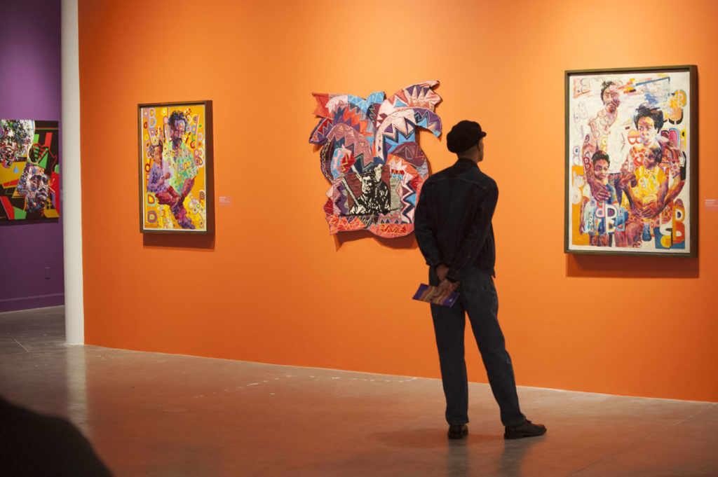 "Wadsworth Jarrell paintings in the exhibition ""AFricCOBRA: Messages to the People"" at the Museum of Contemporary Art, North Miami, 2018 to 2019. (Courtesy Kavi Gupta gallery, Chicago)"