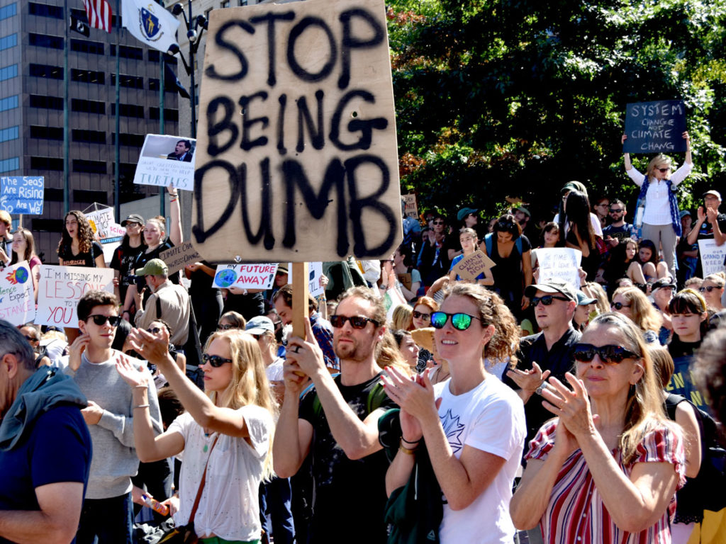 The Boston Climate Strike rally at Boston City Hall, Sept. 20, 2019. (Greg Cook)