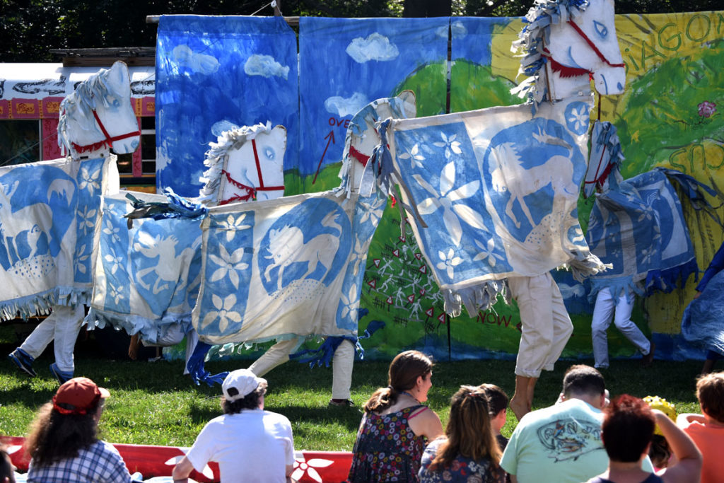 "Bread and Puppet Theater's ""Diagonal Life Circus"" at Cambridge Common, Aug. 31, 2019. (Greg Cook)"