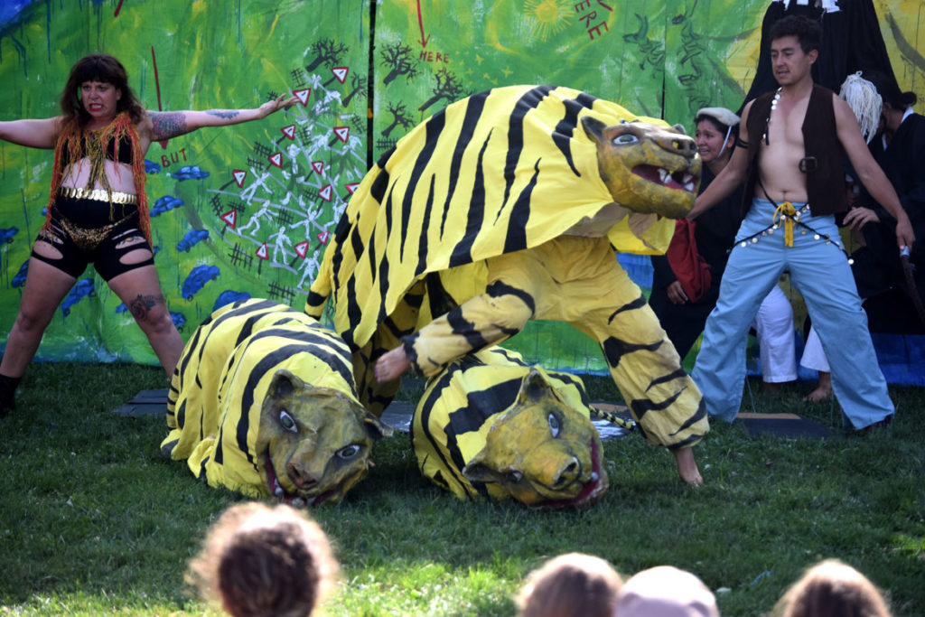 "Tiger act during Bread and Puppet Theater's ""Diagonal Life Circus"" at Cambridge Common, Aug. 31, 2019. (Greg Cook)"