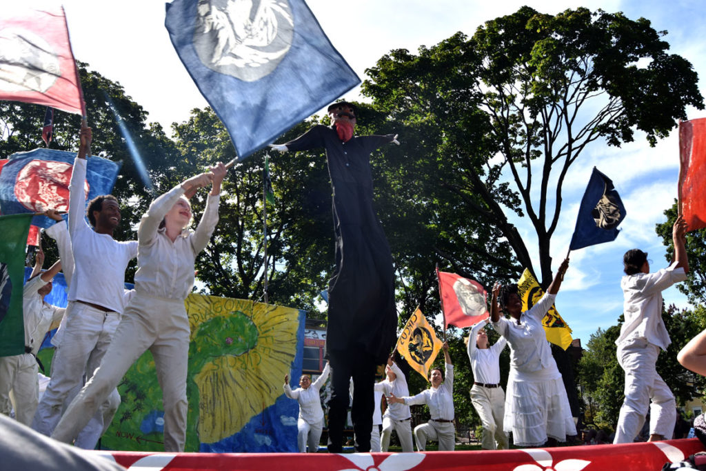 "The opening of Bread and Puppet Theater's ""Diagonal Life Circus"" at Cambridge Common, Aug. 31, 2019. (Greg Cook)"